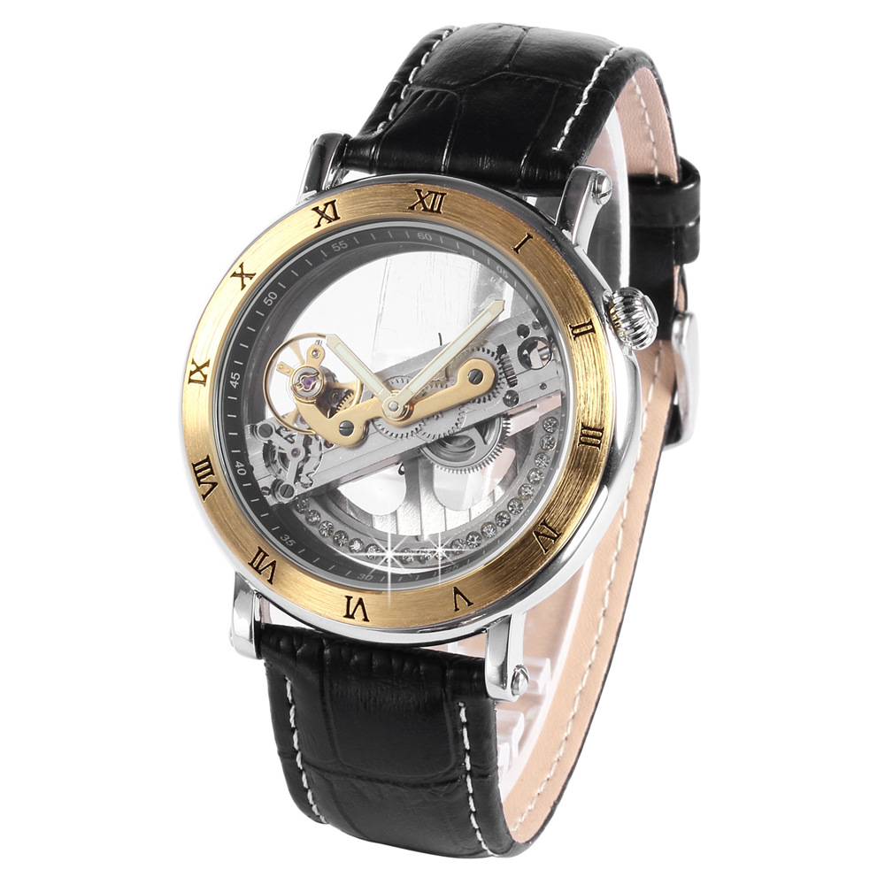 ФОТО JARAGAR Male Clock Unique Design Transparent Case Reloj Hombre Skeletonized Mechanism Men's Automatic Mechanical Wrist Watch