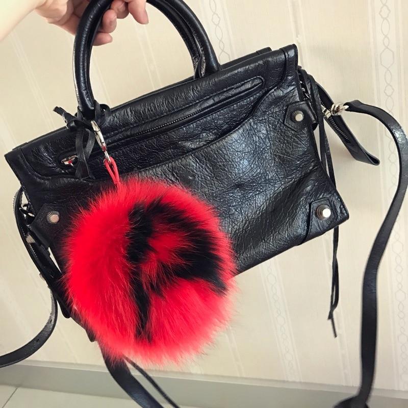 15cm Letter Real Fox Fur Fluffy Ball Keychain Bag Charm Keyring Pompon Key Chains Porte Clef Pompom De Fourrure Handmade Pendant