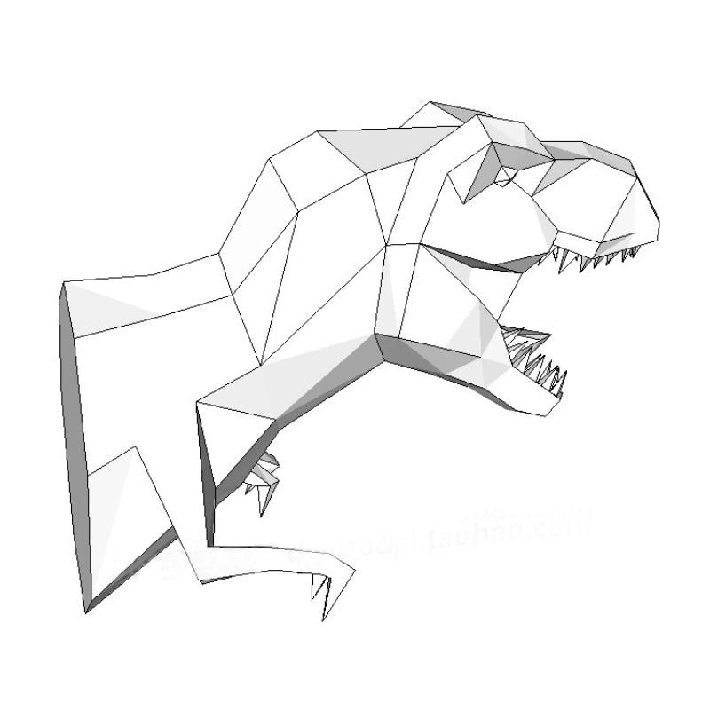 Diy Home Decoration Tyrannosaur Dinosaur Head Paper Model Puzzles