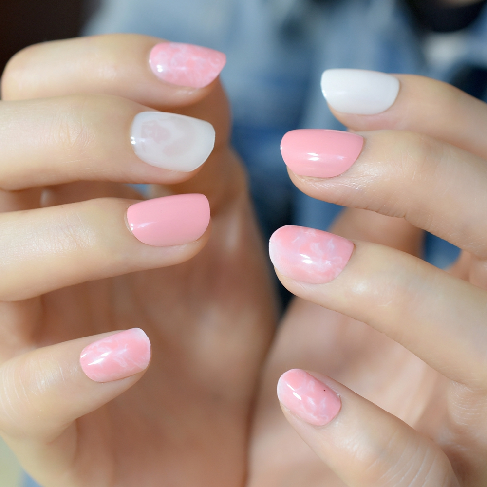 Pink Marble Short False Nails Tips White Pink Full Cover ABS ...
