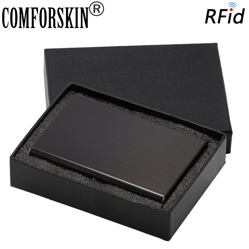 2015 Stainless Steel RFID Blocking Slim Wallets With Gift Box Metal Business Card Case Holder Against