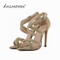נעלי נשים אופנה חדשות משאבות פו קטיפה רצועות קרסול הבוהן פתוחה עקבים גבוהים גברת קיץ נעלי נעלי כלה 102-1A-VE