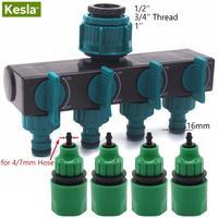Kesla Tuin Watering Druppelbuis 4-Way Tap Slang Splitter Voor 4/7 Mm Slang W/4 fittingen Quick Connectors Voor Kas