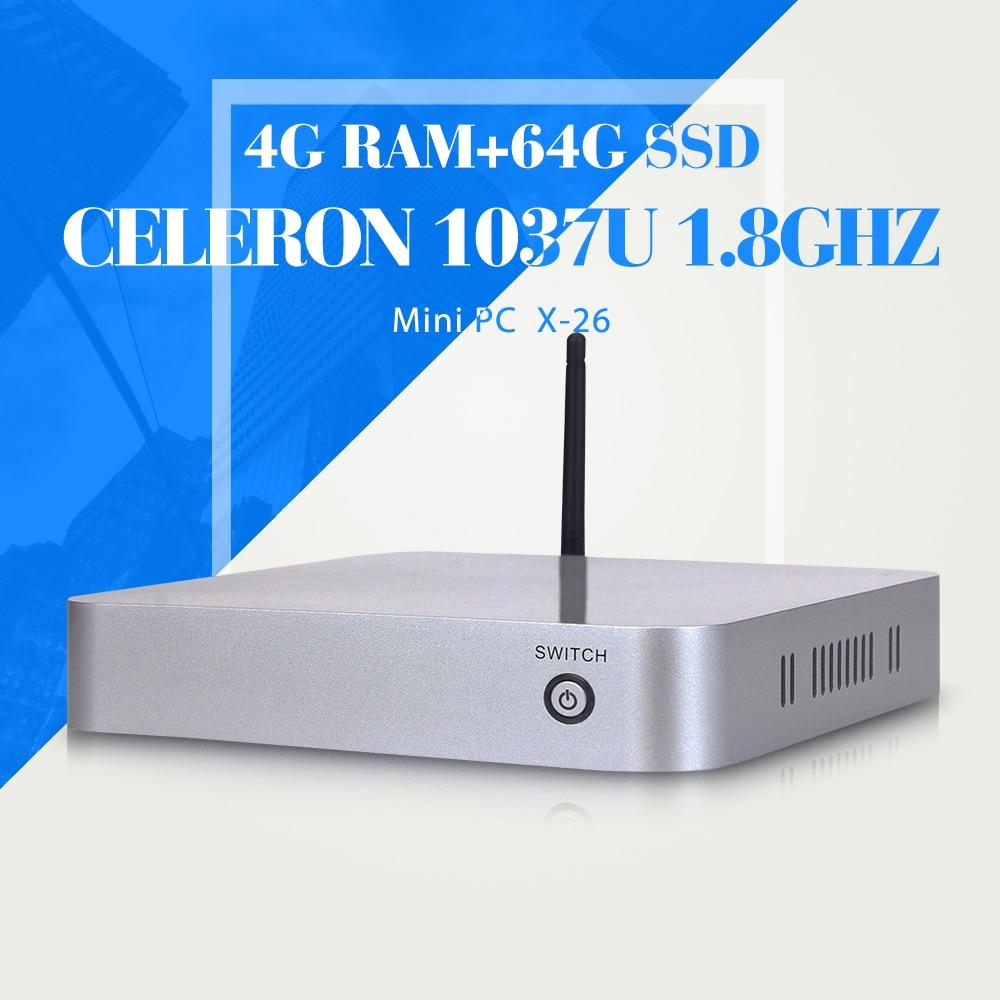 MINI PC Mini-ITX C1037U 4G RAM 64G SSD+WIFI gaming pc case with ABS computer case net mini pc thin client desktop pc