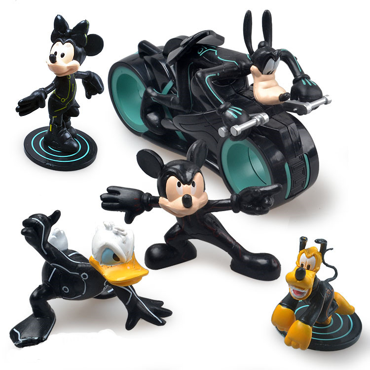 5pcs-lot Mickey Action Figure Toy PVC Doll Mouse Donald Duck Dog With Motor Classic Mickey Toy For K