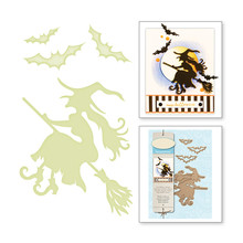 Naifumodo Halloween Metal Cutting Dies Scrapbooking Witch Riding Craft Die Card Making Broom Bats Die Cuts 2019 New Embossing