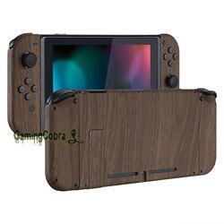 Placa trasera de consola de agarre táctil suave con diseño de grano de madera, carcasa de controlador con botones completos para Nintendo Switch