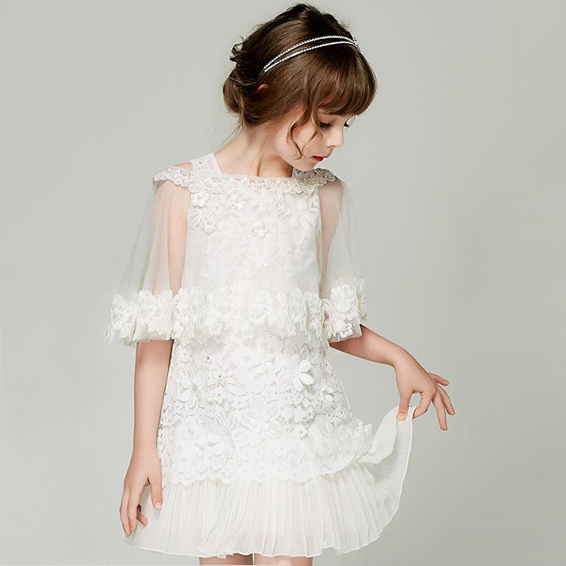 Flower Girl Dresses With Shawl Hole Ball Gown White Lace Sleeveless Birthday Wedding Party Communion for Little Girls Clothing lace design white flower rose invitation card kit for wedding paper blank printing invitations cards set party festivals invite