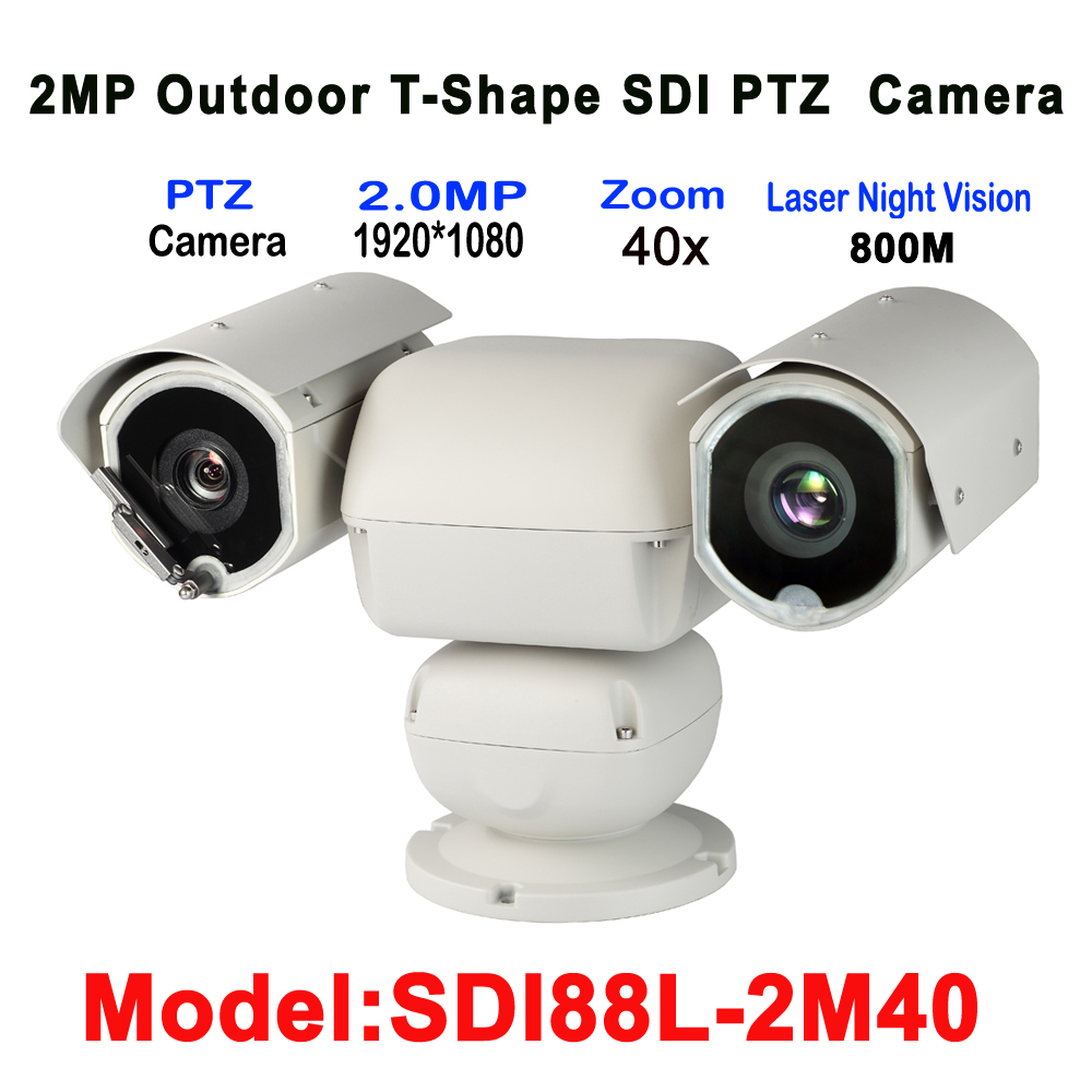 HD-SDI T-Shape PTZ Camera Laser IR 800M 40X Auto Zoom For City fire/airport runway/defense border open reginal surveillance