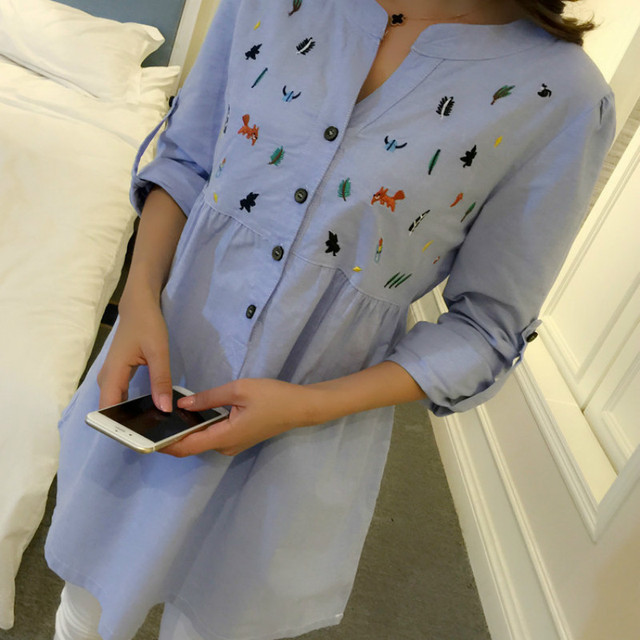 Maternity Clothes Pleated Embroidery Cotton Maternity Shirt Spring Autumn Blouse Tops Clothes For Pregnant Women Pregnancy 4
