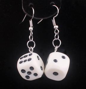 Funny Acrylic 3D Dice Pendant Earrings Dangle Necklace Cool Punk Drop Earring Tassel Casino Women Men Jewelry Personality Fun G(China)