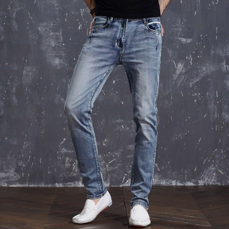 Icpans Stretch Jeans Men Straight 2018 Mens Jeans Slim Fit Elastic spring summer new denim long pants ...
