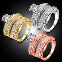 Bridal Set White Round Cubic Zirconia Yellow/Rose/White Gold Filled Wedding Engagement Ring Sets Size 6-9
