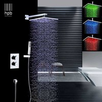 HPB brass 2 way 3 color rainfall led light 8'' square shower faucets sets complete mixer shower sets with thermostatic valve H9