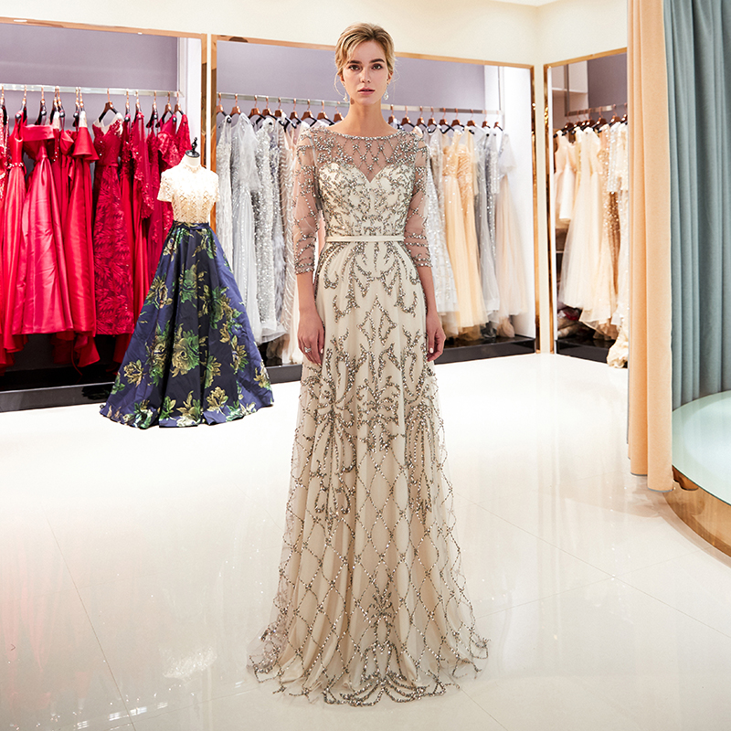 Charming A-line Vestido   Prom     Dresses   Illusion Three Quarter Length Sleeves Sequins Beading Champagne Formal Party   Dresses