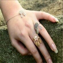 2016 novo estilo de moda boêmio penas anel apanhador de sonhos anel de ajuste para o casamento