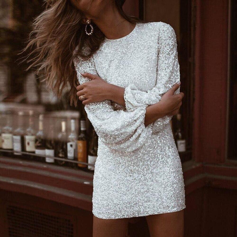 Missord 2018 Sexy O Neck Long Flare Sleeve Sequin Bodycon Dresses Female Elegant Solid Color Mini Dress Vestdios FT18650