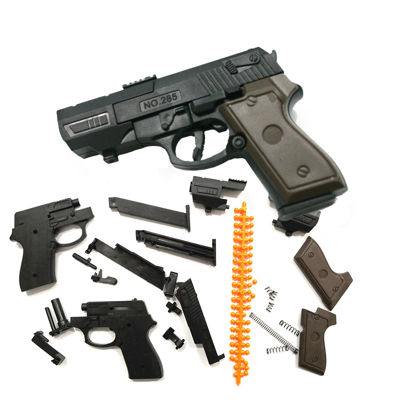 Mini 10cm Toys Gun 1:3 Model Building Blocks Assembled Toy Hands-on Educational Toy Ability (Can Fire Bullets)