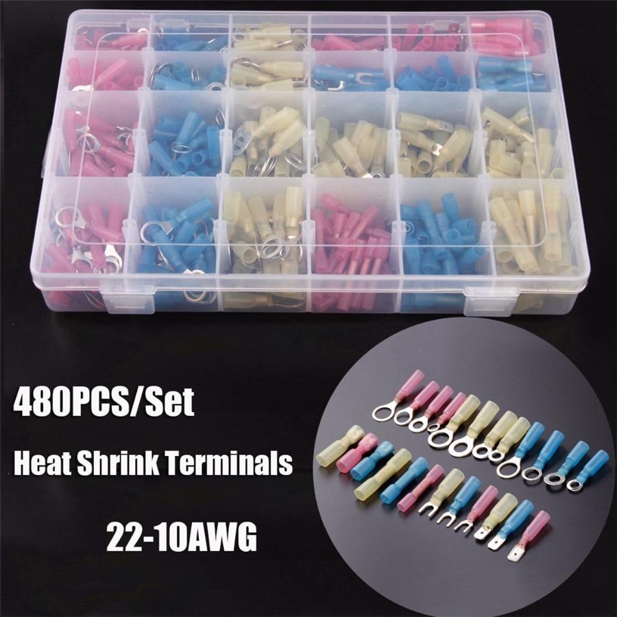 Heat Shrink Wire Connectors Assortment Crimp Terminals Marine Case Kit 480PCS