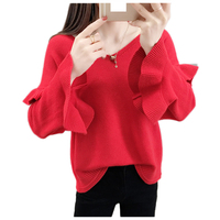 2019 New Spring Sweater Women V neck Long Sleeve Loose Pullover Women's Basic Sweaters Women Ruffle Knitted Tops Femme NW1526
