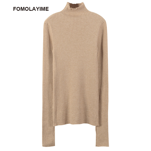 FOMOLAYIME New Sweaters 2018 European High Fashion Casual Turtleneck Long Pullover Sweater