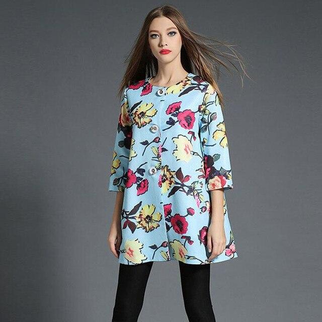 Женская мода Основные Пальто 2017 Цветочный Печати Повседневная Осень Куртка Женщин Clothing Chaquetas Mujer Jaqueta Feminina 72170