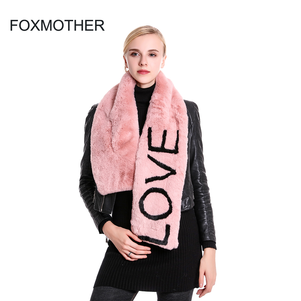 FOXMOTHER 2019 New Winter Fashion Soft Black Pink Faux Fur Collar Scarf Love Letter Scarves Women Gifts