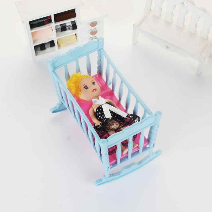 for barbie cradle Rocking Cradle Bed Doll House Toy Furniture For Kelly Barbie Doll Accessories Girls Toy Gift Baby Shower