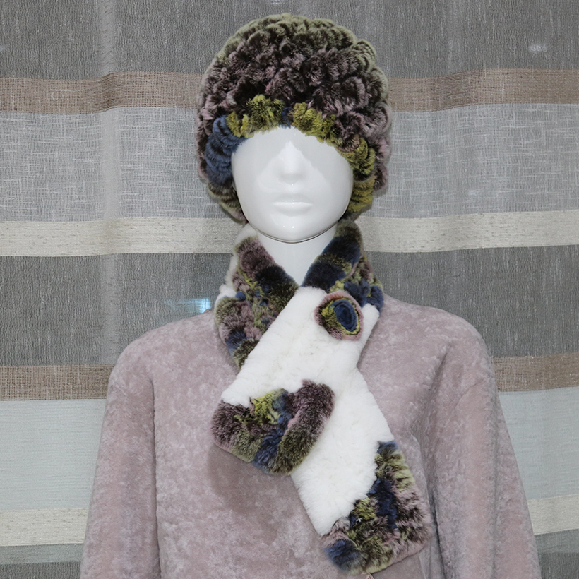 Women Fur Hat and Scarf Set Genuine Rex Fur Knitted Natural Beanies Fashion Female Real Fur Caps Scarves Warm Winter Scarf