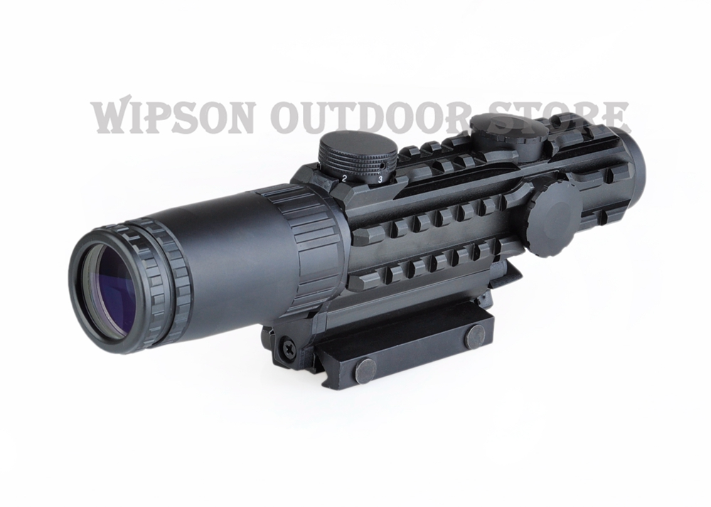 WIPSON Aim Airsoft 1-3x28 Riflescope Yellow Illuminated Rangefinder Reticle Shotgun Air Hunting Scope With Lens Cover 1-3 Times discovery vt t 4 5 18x44sfvf white leters reticle side shooting hunting riflescope rangefinder for airsoft air guns