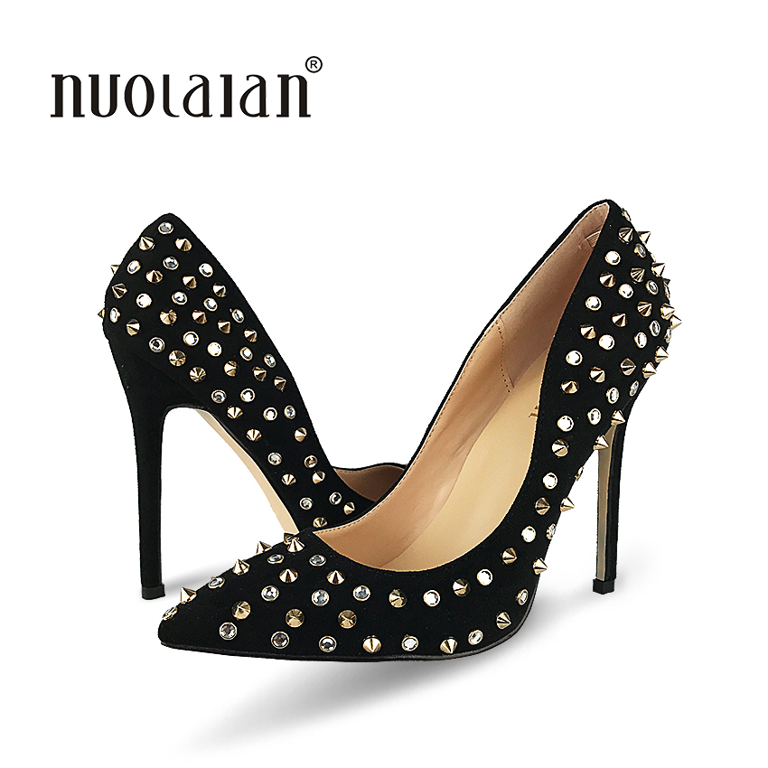 Shoes Woman High Heels Pumps Rivets Womens Shoes Pumps 12CM Black Heels Woman Sexy Pointed Toe High Heels Wedding Shoes