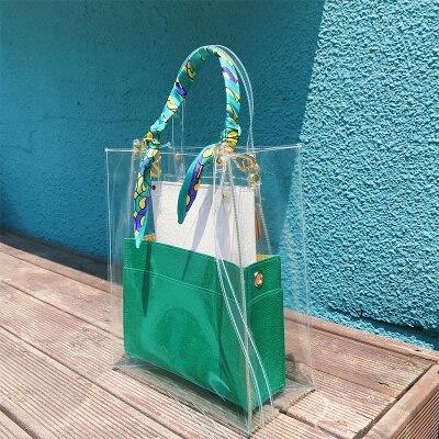 2018 nouvelle marque d'été designer de haute qualité pvc plage clair grand seau fourre-tout transparent chaîne grand sac à main petits sacs à main en cuir