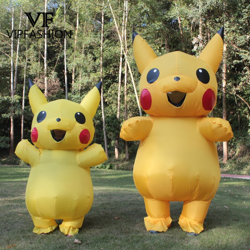 VIP FASHION New Yellow INFLATABLE Pikachu Costume Halloween Costume For Kids Adults Men Women Inflatable Party Dress Costume