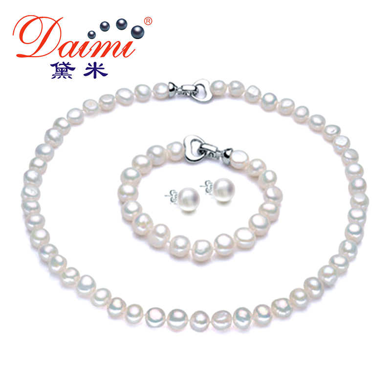 DMSFP063 8-9MM Natural Pearl Jewelry Sets Real 925 Sterling Silver Baroque Pearl For Women