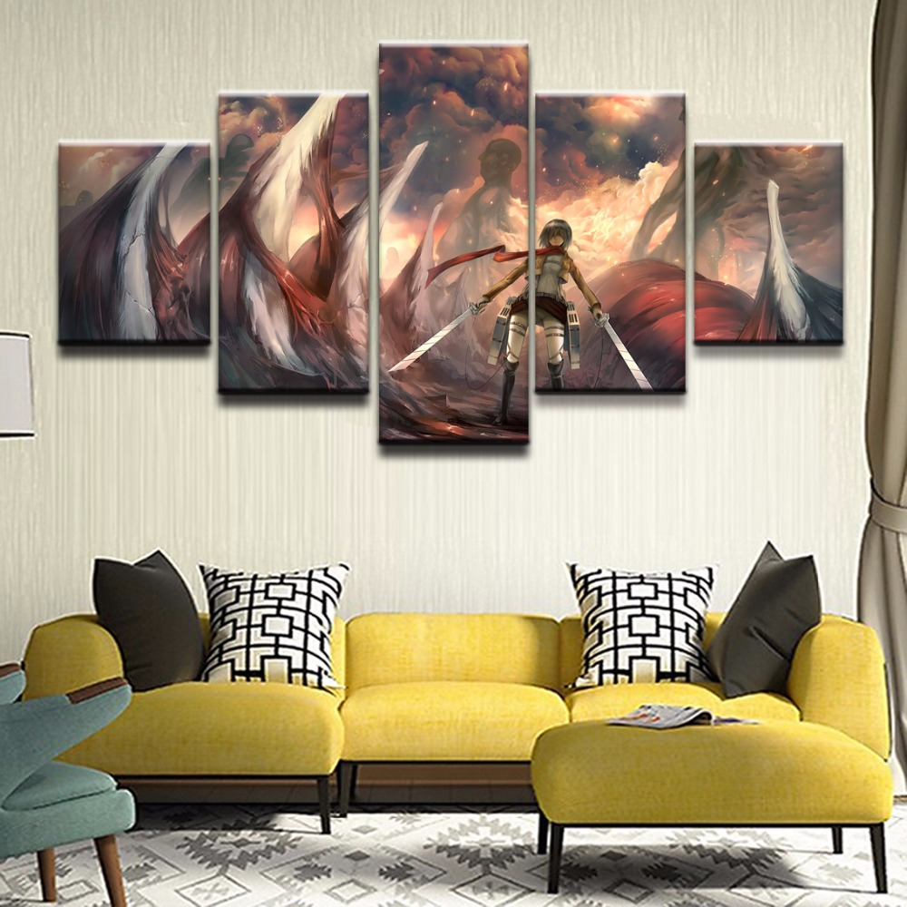 Modern Canvas Painting Decor Pictures 5 Pieces On An Mikasa Ackerman Home Wall Art Artwork Animation Poster In Calligraphy From