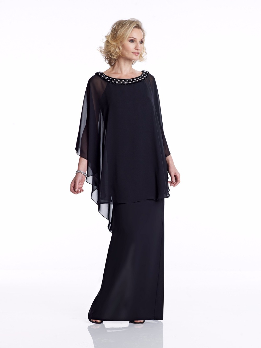2019 Navy Blue Chiffon Sheath Mother Of The Bride Dresses Cape Floor Length Bride Mother's Dresses For Wedding Evening Wear