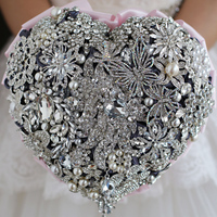 Pink heart shaped jewelry bridal hand holding flowers crystal petals butterfly pearl wedding DIY decoration foundation ribbon