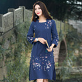 Autumn Elegant New Dresses For Women Blue And Pink Round Neck Long Sleeve Floral Embroidered Straight Casual Dress