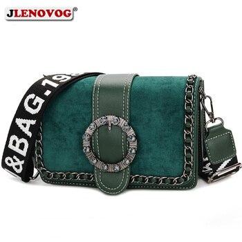 Women Suede Leather Crossbody Saddle Bag Fashion PU Chain Diamond Buckle Handbag Ladies Small Green Black Beige Shoulder Purse leather