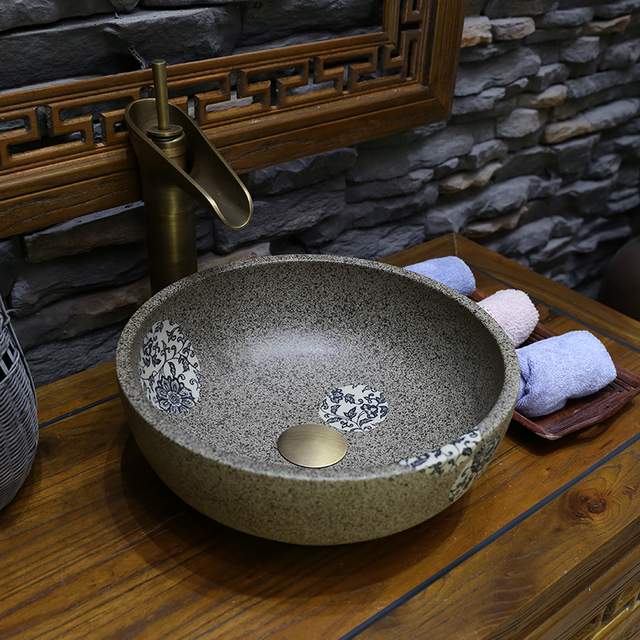 Mini Porcelain Jingdezhen Ceramic Washbasin Chinese Handmade Countertop Basin Bathroom Sink Wash Small 30cm