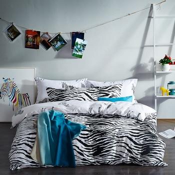 Nuevo juego de cama de lujo a la moda tamaño queen/king 100% juego de cama de algodón 4 Uds panda cebra estrella funda nórdica juegos de sábanas blanco negro