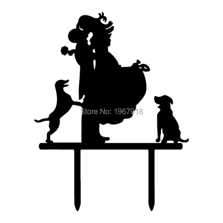 Free Shipping Black Acrylic Wedding Cake Topper Glitter Gold Cake Stand Topper with Pet Dogs Wedding Cake Top Decoration