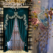 Helen Curtain Luxury Chenille European Style Valance Curtain For Living Room Blue Peacock Embroidered Tulle Window Curtain