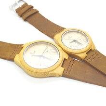 Новое прибытие мужчины и женщины пара смотреть древесины бамбука часы Miyota 2035 движение наручные часы из натуральной кожи для любителей