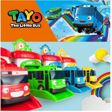 4pcs/set Scale model tayo the little bus children miniature bus plastic baby oyuncak garage tayo bus kids toys Christmas gift dinosaur world jurassic park scene play mat kids