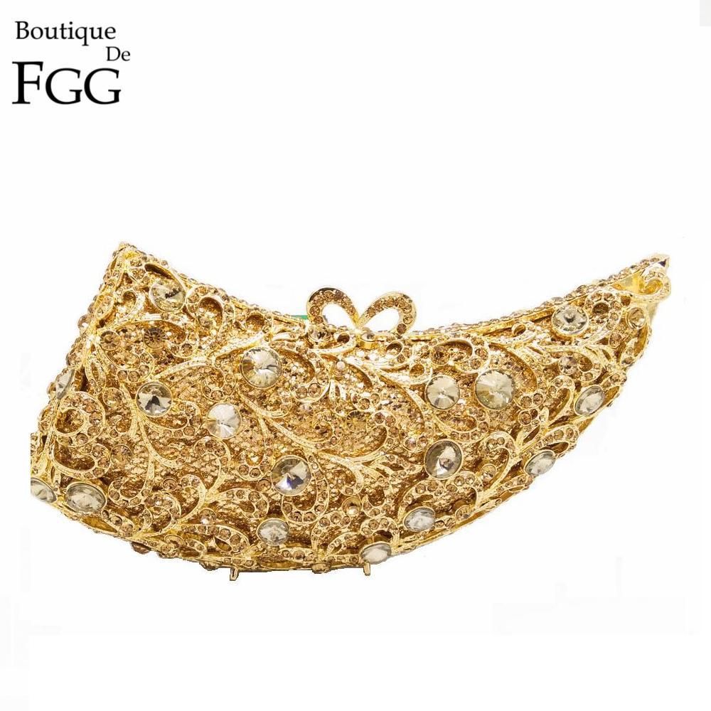 ФОТО Gift Box Women Handbag Hollow Out Golden Rhinoceros Horn Crystal Evening Bags Wedding Party Rhinestone Diamond Clutch Purse