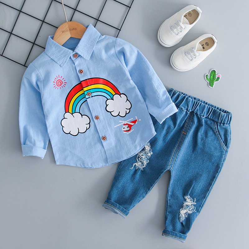 Kids Clothes Boys Clothes 2 Piece Set Boy Kids Streetwear 2019 Spring Shirt Jeans Children Clothing Kids Streetwear Tracksuit in Clothing Sets from Mother Kids