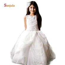 523b138afe Ivory tiulowa sukienka balowa kwiat dziewczyny suknie zroszony  oszałamiająca dziewczyny pierwsza komunia sukienki Draped urodziny sukienki