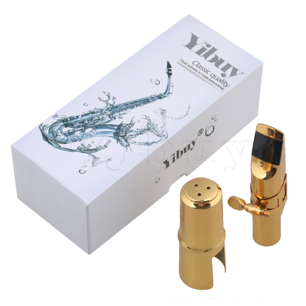 Yibuy Copper Gold-plated 7# bE Alto Saxophone Mouthpiece Cap Ligature advanced selmer a series alto e flat eb sax metal mouthpiece 7 for saxophone beginner gold plated saxe