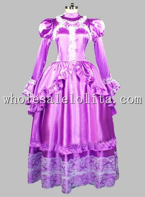 Gothique violet soie-like blanc dentelle Noble époque victorienne robe